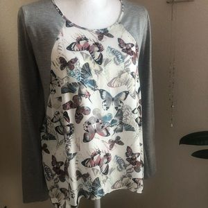 Butterfly print jersey style tunic